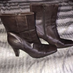 Nine West over the ankle brown leather boots